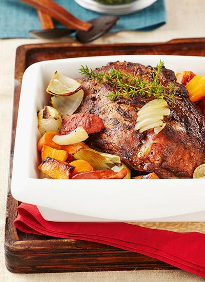 Bondiola de cerdo al horno con vegetales