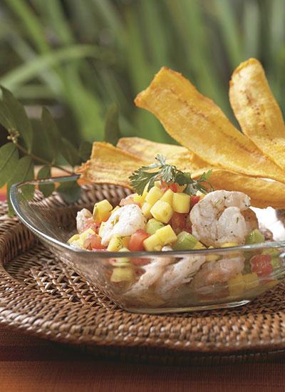Ceviche de camarones y mango
