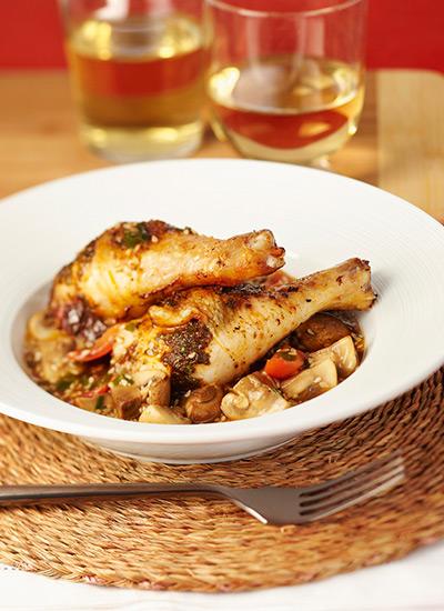 Muslos de pollo al horno con champiñones