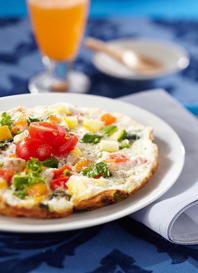 Omelette de claras de huevo con vegetales