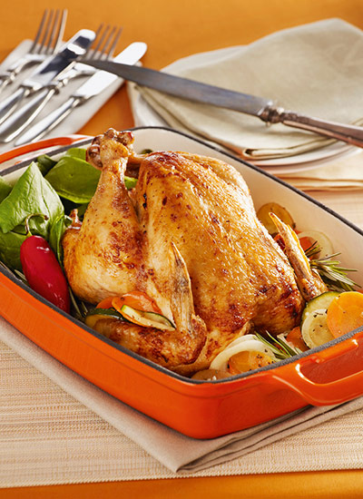 Pollo asado con vegetales