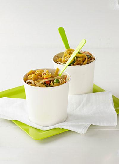 Fideos (noodles) y vegetales al wok