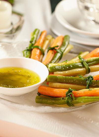 Paquetico de vegetales con mantequilla de perejil